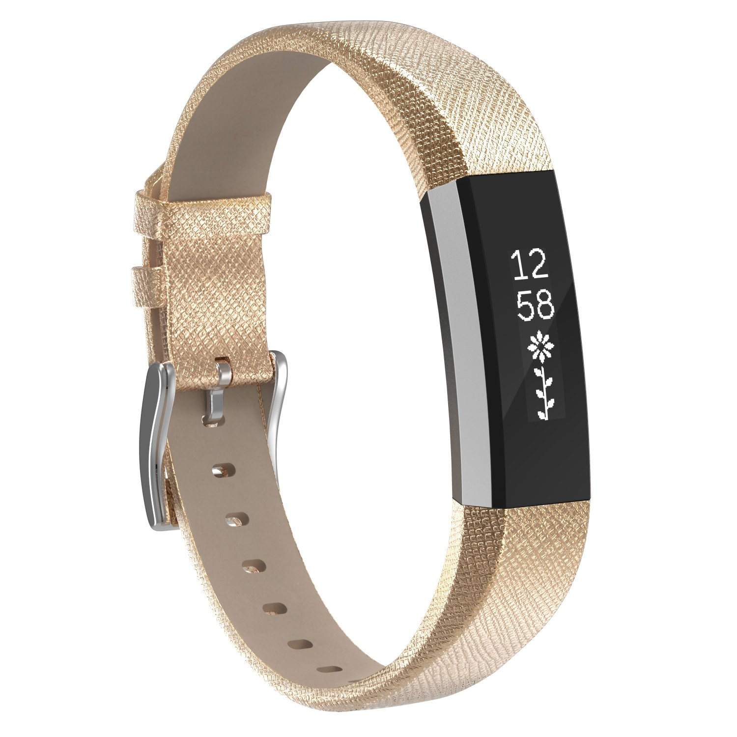 Henoda Replacemnt Leather Bands Compatible with Fitbit Alta/Fitbit Alta HR, Gold Classic Genuine Leather Wristband, Small Large, No Tracker