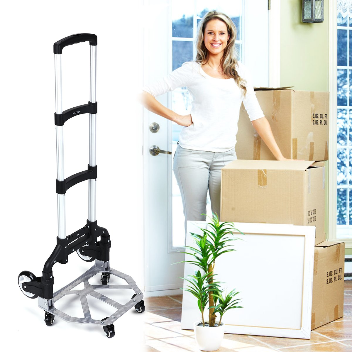 Bocca 6 Wheel Folding Hand Truck, Portable Magna 165 lb Capacity Heavy Duty Aluminum Carts Foldable Height Adjustable Utility Trucks and Dolly