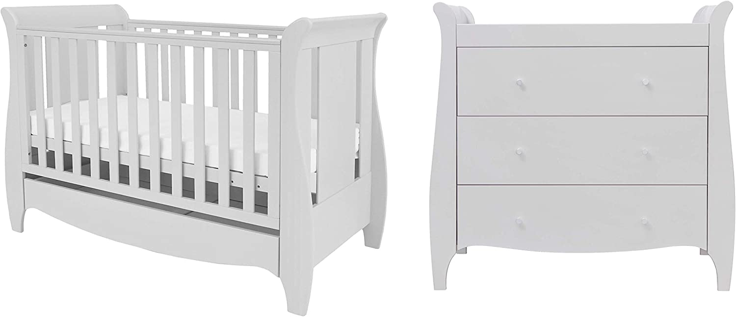 Tutti Bambini Roma Nursery Furniture Set Space Saver Baby Cot Bed and Sleigh Design Chest of Drawers Space Saver Two Piece Truffle Grey Solid Wood Furniture