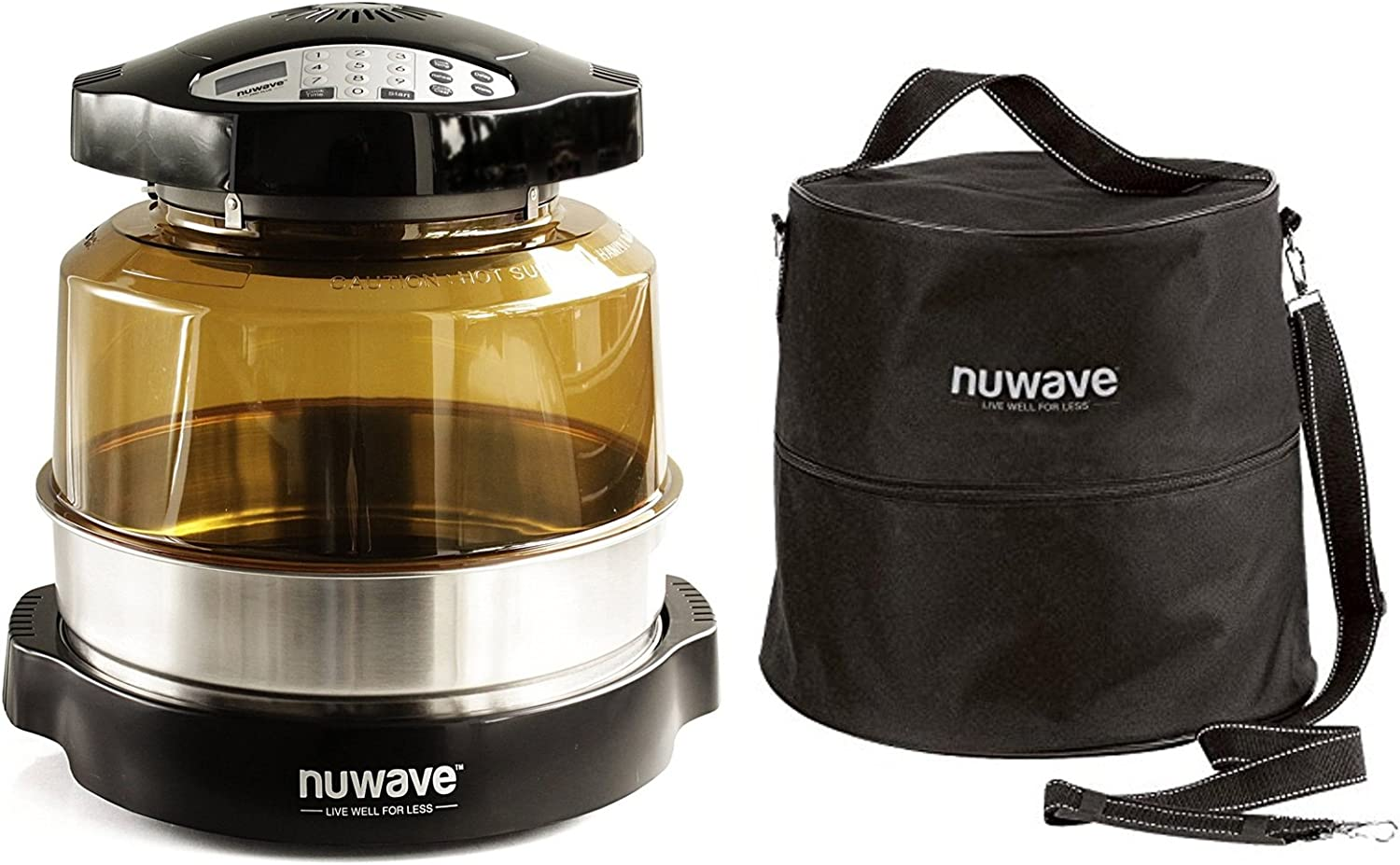 Nuwave Pro Plus Oven w 3 Extender Ring Oven Carry Case with Straps