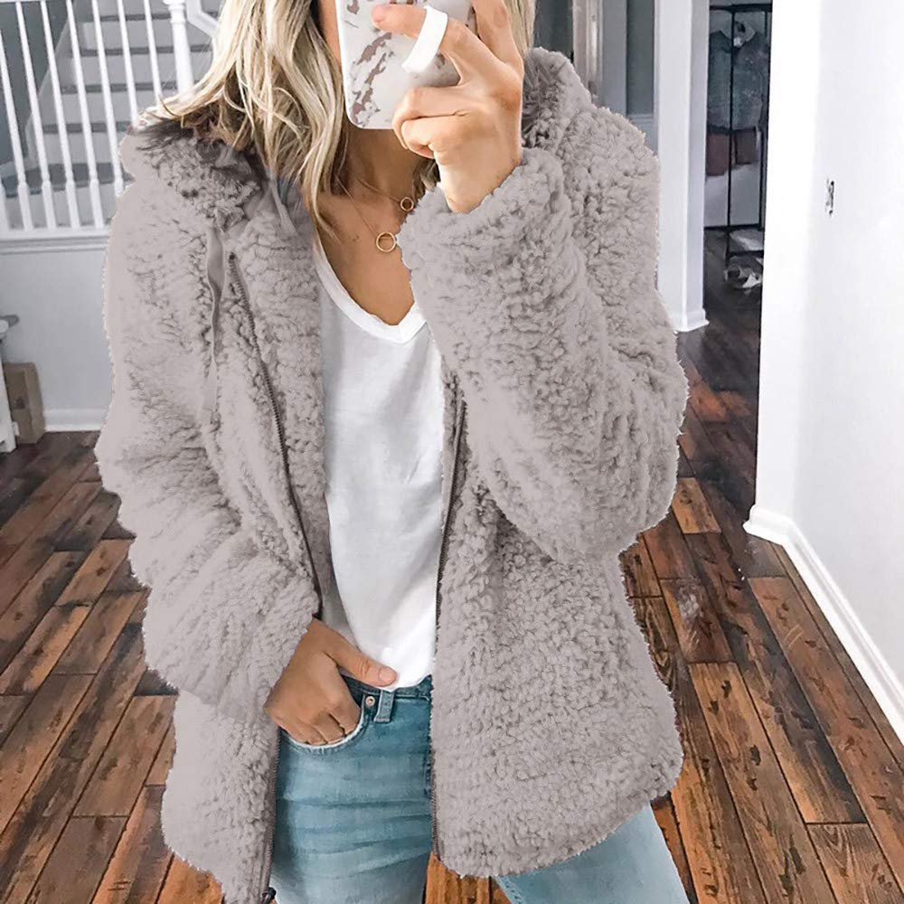 Sweater Hooded Coat,Women Girls Winter Plush Thick Coat Long Sleeve Open Stitch Cardigan Fashion