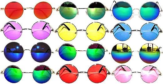 مجموعة من 12 زوج من نظارات شمسية ملونة عتيقة عتيقة ملونة دائرية كلاسيكية بإطار معدني