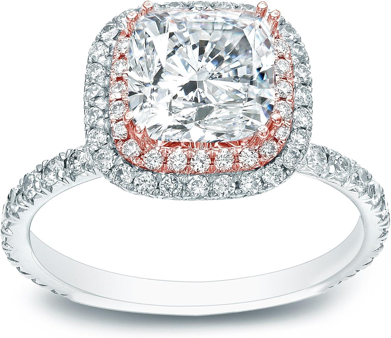 2.00 ct D//SI1 Cushion Halo Round Cut Diamond Engagement Ring 14K White Gold
