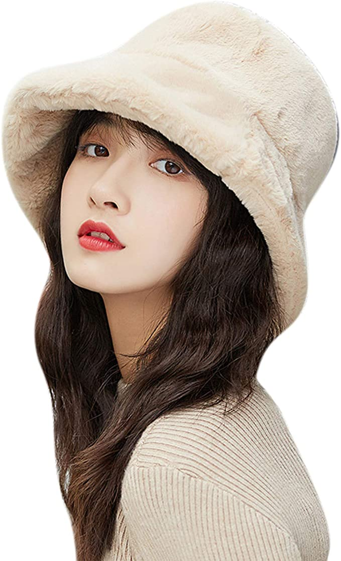 2 Pieces Women Faux Fur Warm Hats 1920s Vintage Round Bucket Hat Fall Winter Cold Weather Hat with Bow