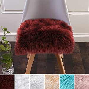 Softlife Square Faux Fur Sheepskin Chair Cover Seat Cushion Pad Super Soft Area Rugs for Living Bedroom Sofa (1.6ft x 1.6ft, Burgundy