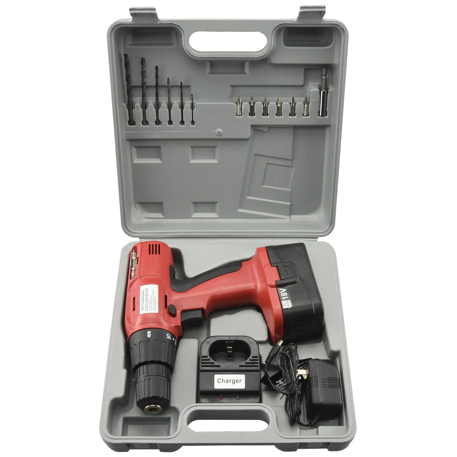 ESKALEX 18V Cordless Drill | Keyless Chuck Automotive Woodworking Bench Power Tool Case And 18V Cordless Drill Reversible: 600 RPM 16 Torque Clutch 3/8'' Keyless Chuck Includes an 18 Volt Battery