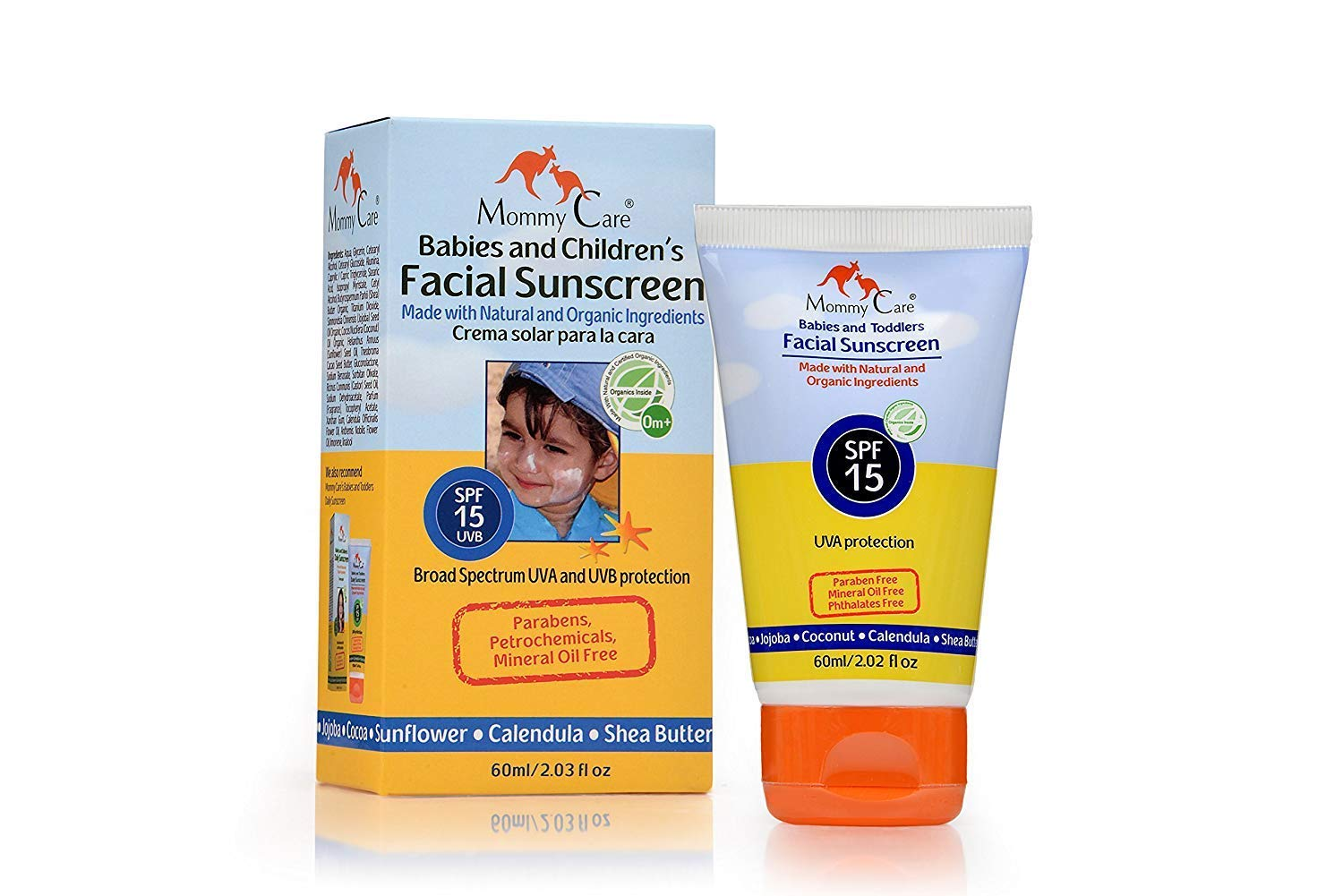 15 SPF Daily Facial Baby Sunscreen [Mommy Care] Safe for Babies, Toddlers and the Whole Family. UVA/UVB Protection Broad Spectrum – Paraben Free – Organic Vegan Sun Protection 2 fl.oz