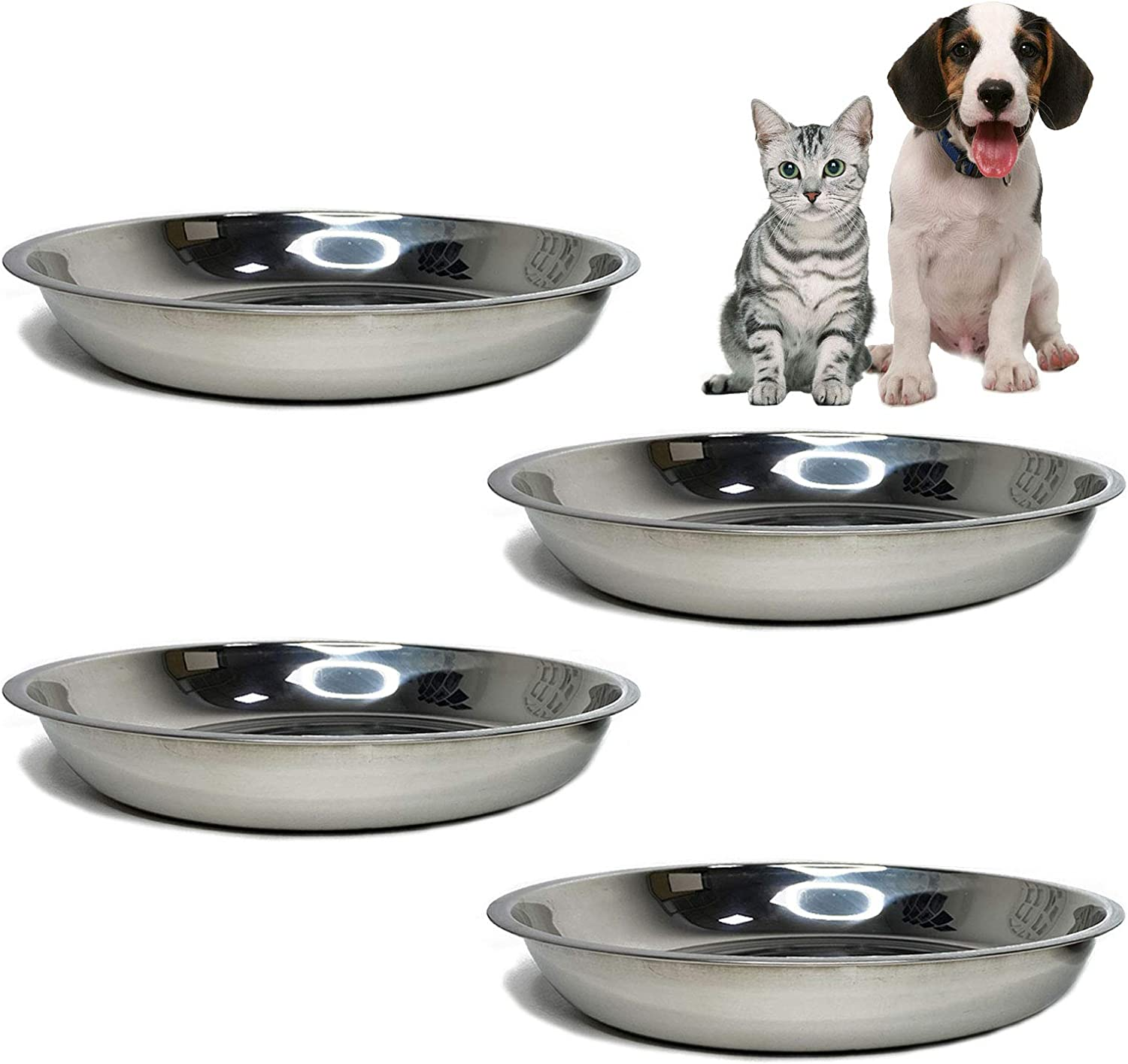 kathson Stainless Steel Whisker Relief Cat Bowl, 4 pcs Shallow and Wide Bowls, Pet Cat & Dog Feeding Large Dishes Fits with Elevated Stands Pet Bowl Stand (9.44 Inch Dia.)