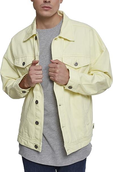 Urban Classics Oversize Garment Dye Jacket, Chaqueta Vaquera para Hombre, Amarillo (Powder Yellow