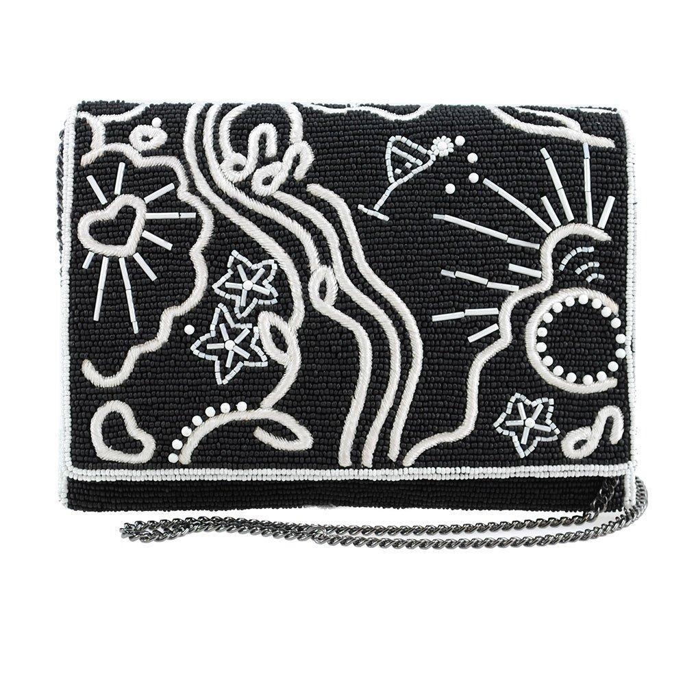 MARY FRANCES Graffiti Beaded and Embroidered Crossbody Clutch Handbag