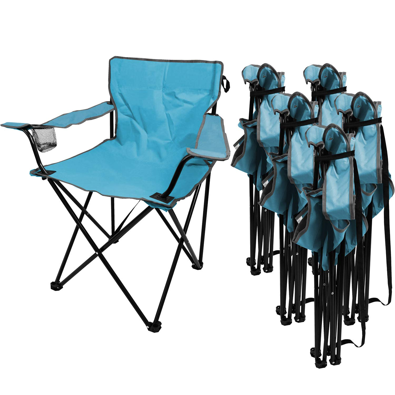 Multistore 2002 6 Stück Campingstuhl inkl. Becherhalter, in 4 Farben erhältlich, tragbar, faltbar, Garten Balkon Strand Klappstuhl Faltstuhl, Farbe:Blau