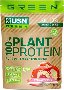 USN 100% puro proteína vegetal en polvo fresa, fácil digerir proteína vegana, azúcar y soja libre
