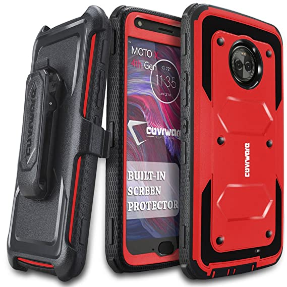 new arrival 7a2e2 1161b Moto X4 Case, COVRWARE [Aegis Series] w/Built-in [Screen Protector] Heavy  Duty Full-Body Rugged Holster Armor Case [Belt Swivel Clip][Kickstand] for  ...
