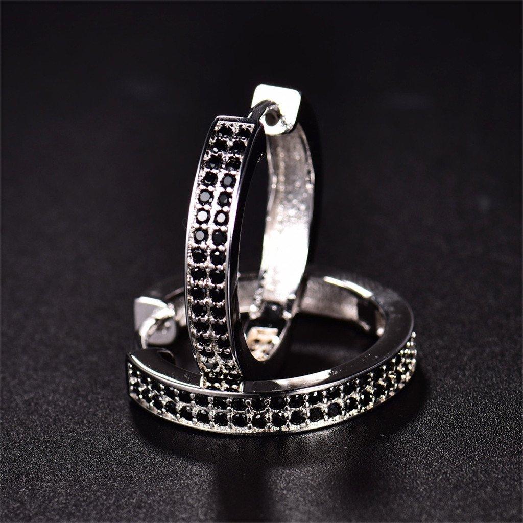 GULICX Filigree Silver Tone 3 Row Clear Cubic Zirconia CZ Hoop Huggie Earrings Sleeper