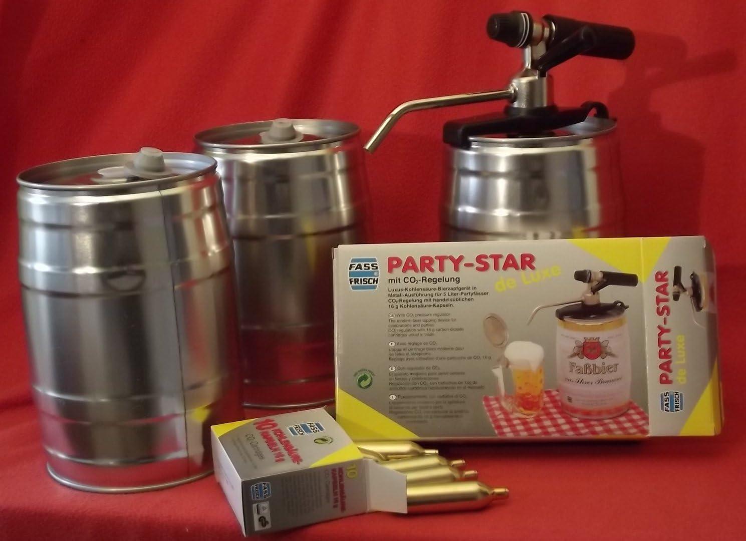3 barriles para fiestas (vacíos, 5 L, incluye dispensador Party Star de Luxe y 10 cartuchos de CO2, para cerveza casera)