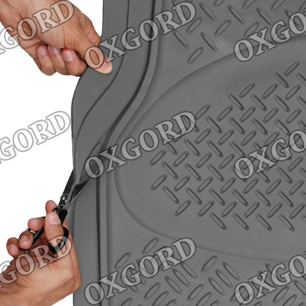 OxGord WeatherShield HD Heavy Duty Rubber Trunk Cargo Liner Floor Mat Gray SUV Van /& Trucks Trim-to-Fit for Car