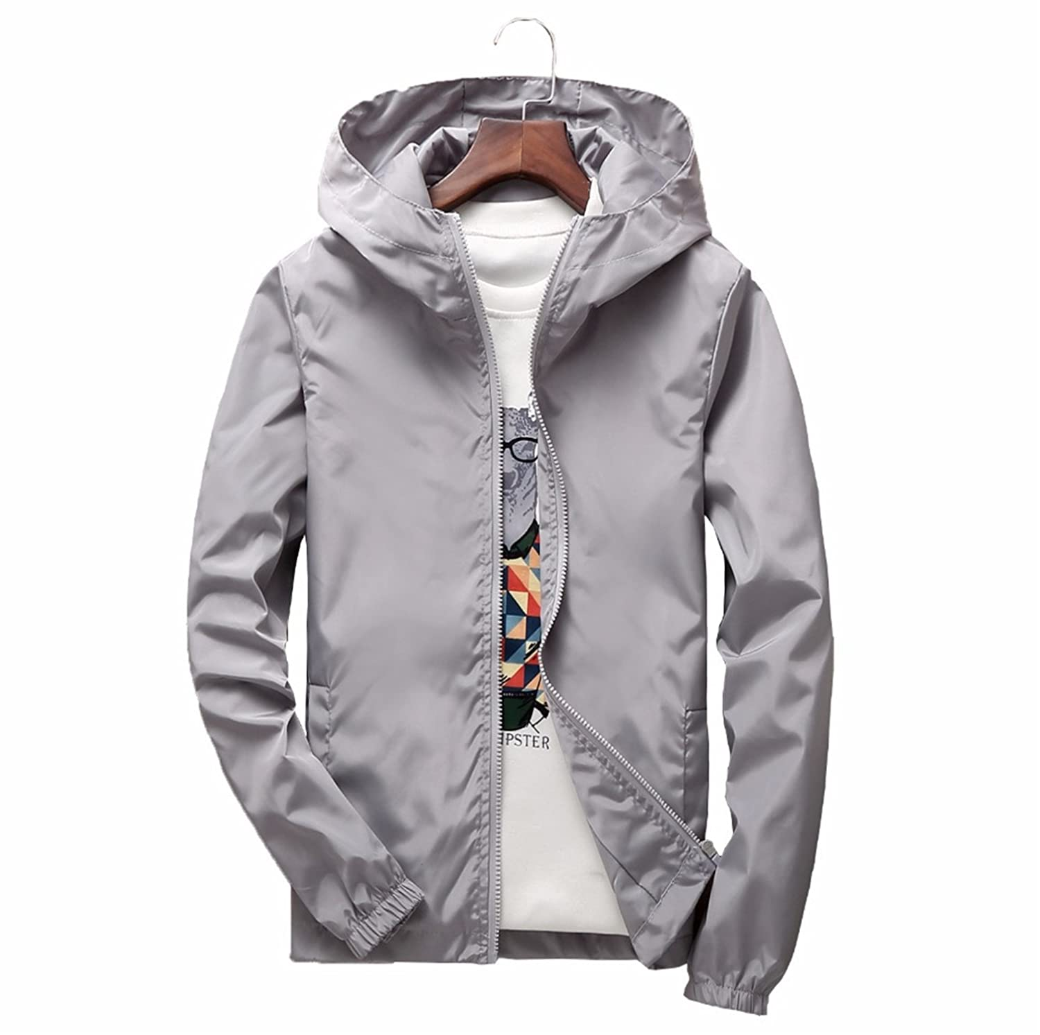 Feroni 2018 Plus Size Mens Spring Summer Hooded Jacket Waterproof Bomber Jackets Male Casual Jacket Coat Outwear Chaqueta at Amazon Mens Clothing store: