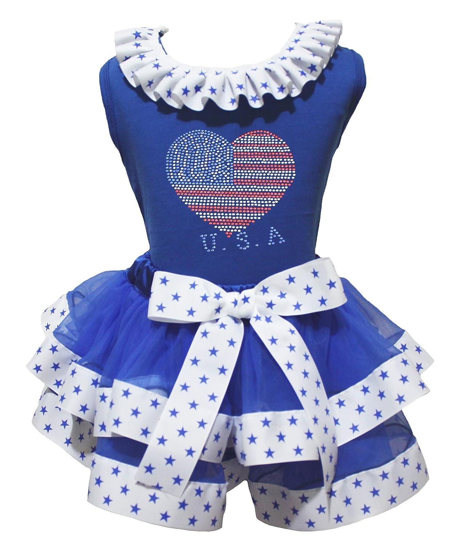 79aadcafb 4th de julio de vestido Bling USA Heart Azul Top estrellas lazo blanco  pétalos Falda Set