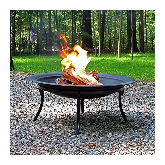 Sunnydaze Portable Outdoor Fire Pit Bowl - 29 Inch Round Bonfire Wood Burning Patio & Backyard Firepit for Outside with Spark Screen, Fireplace Poker, Folding Stand, and Carrying Case Cover - PORTABLE SIZE: Can easily be moved around on the patio, yard, lawn, garden, or while camping at the campground; Overall 29 inch diameter x 24 inch high, weighs 12 pounds;The base when folded is 8.75 inches tall and the diameter of the base is 23.25 inches HIGH TEMPERATURE PAINT: Firepit is made from heavy duty steel metal and finished with high temperature paint for long-lasting quality and added resistance to rust; Conveniently folds for ease of portability and quick set up in the backyard or for a campfire EVERYTHING INCLUDED: Wood burning fire pit set includes folding stand, mesh spark screen for added protection from flying sparks, fireplace poker tool to easily control the flame, and a travel carrying case so it can be taken anywhere - patio, outdoor-decor, fire-pits-outdoor-fireplaces - 71EyRaJC1zL. SS570  -