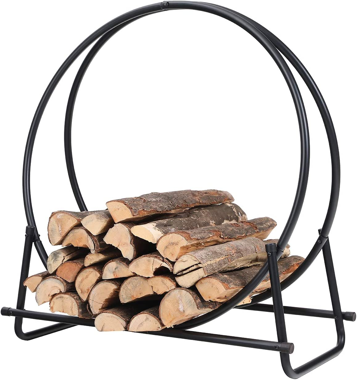 PHI VILLA 30 Inch Log Hoop Firewood Rack Fireplace Wood Storage Holder, Indoor Outdoor Heavy Duty Iron Black