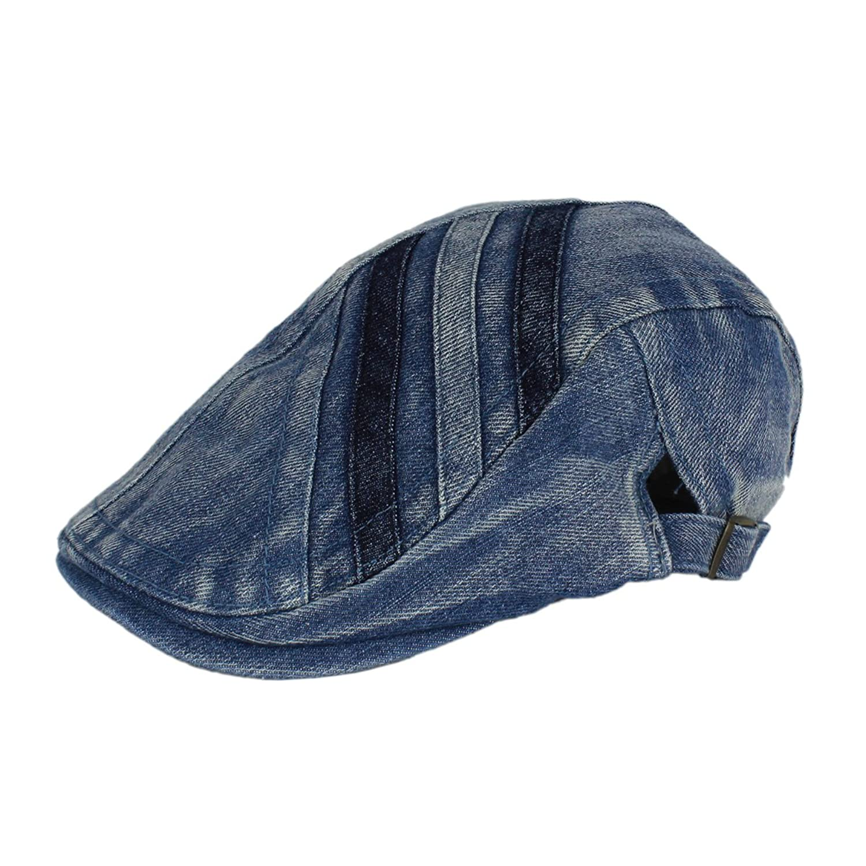 26f59d39e84c Denim Newsboy Jean Gatsby Cap Ivy Irish Flat Cabbie Driver Golf Hat BXGBL  at Amazon Men's Clothing store: