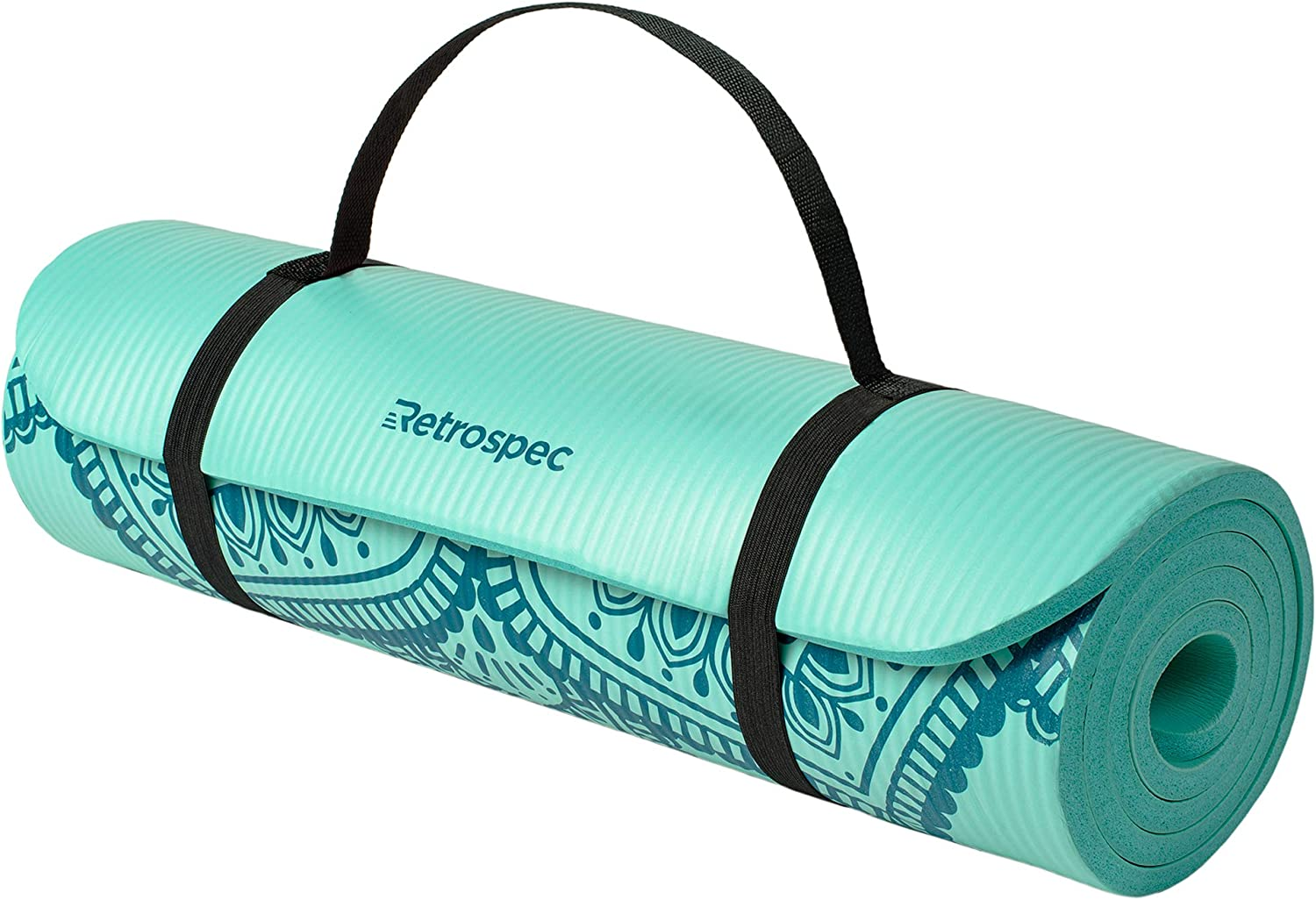 Retrospec Solana Yoga Mat 1 1 2 Thick w Nylon Strap for Men Women – Non Slip Excercise Mat for Yoga, Pilates, Stretching, Floor Fitness Workouts