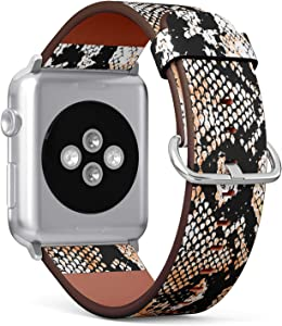 S-Type iWatch Leather Strap Printing Wristbands for Apple Watch 4/3/2/1 Sport Series (38mm) - Snake Skin Pattern