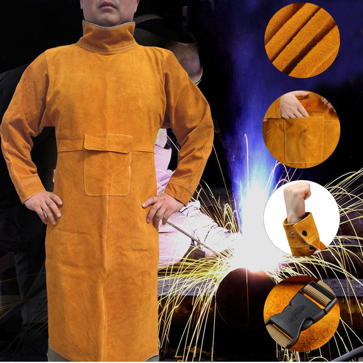 Durable Leather Welding Long Coat Apron Protective Clothing Apparel Suit by SP603