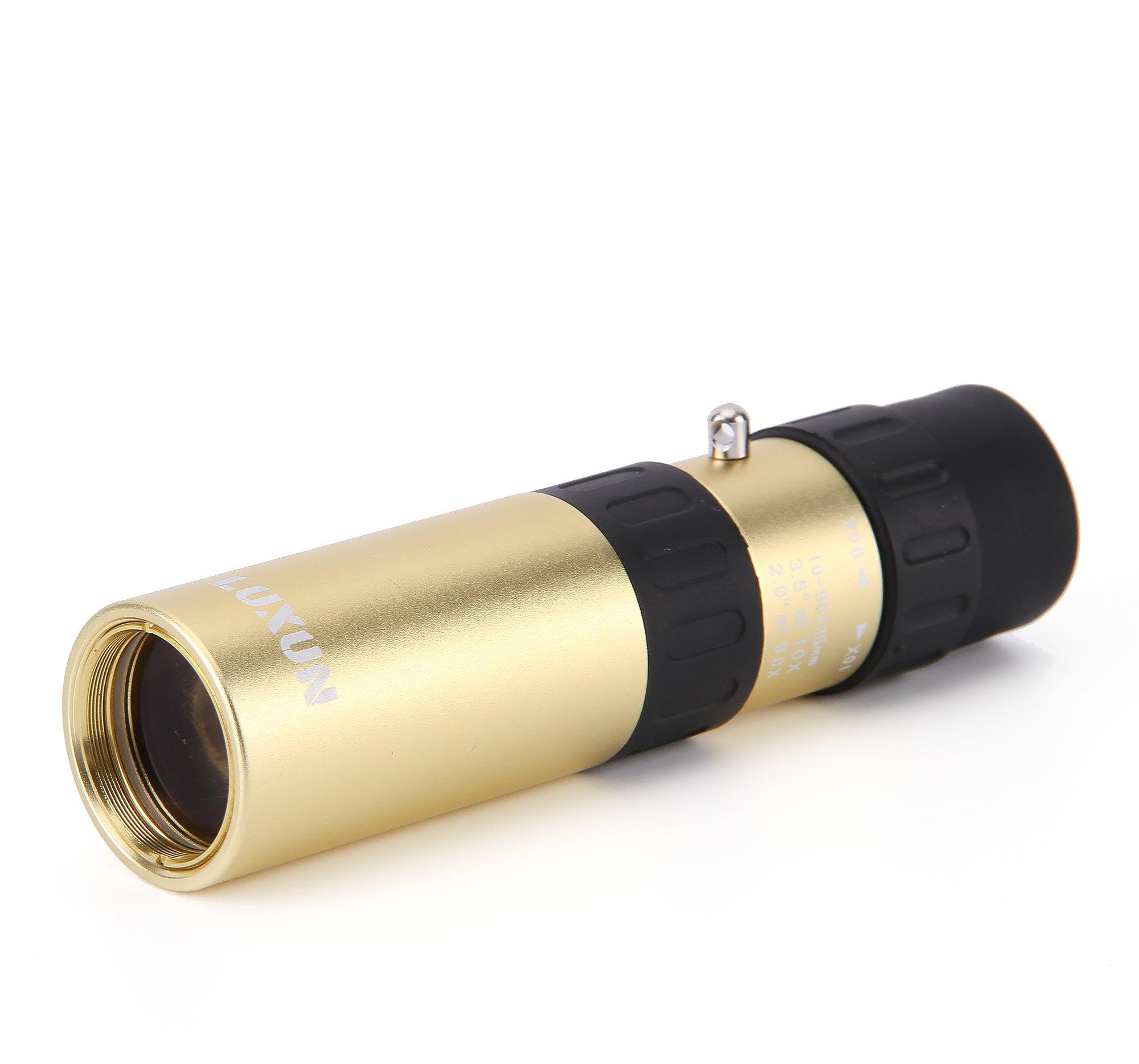 LU2000 25X90 Retro Pirate Telescopic Mini Monocular Telescope Brass Metal Mono Spy Spotting Scope With Carrying Bag