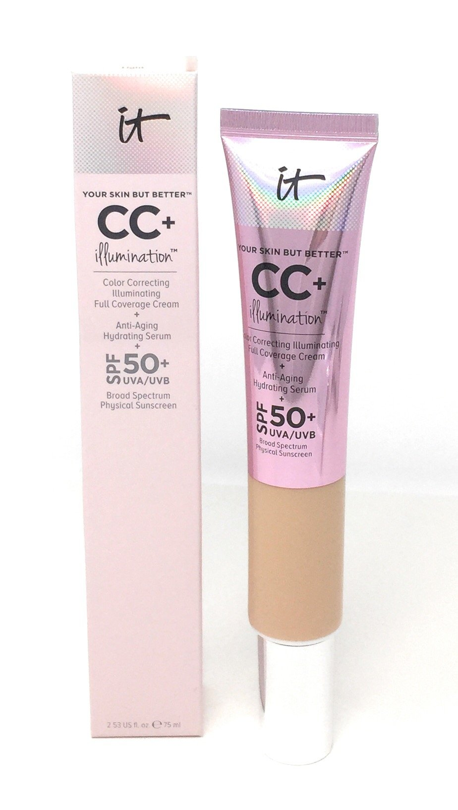 amazon com   it cosmetics your skin but better cc  cream spf 50  2 53 fl oz medium   beauty