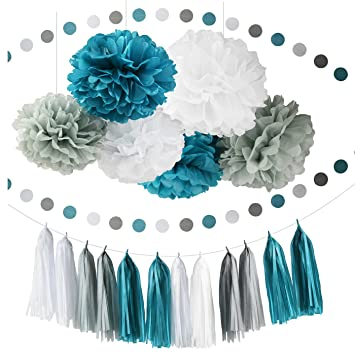 Teal Baby Showe Decorations Bridal Shower Decor Grey White Party Decoration With Tissue Paper