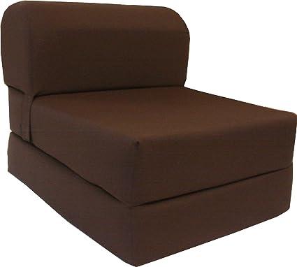 D&D Futon Furniture Twin Size 6 x 36 x 70 Brown Sleeper Chair Folding Foam  Bed, Studio Guest Beds Foam Density 1.8 lbs