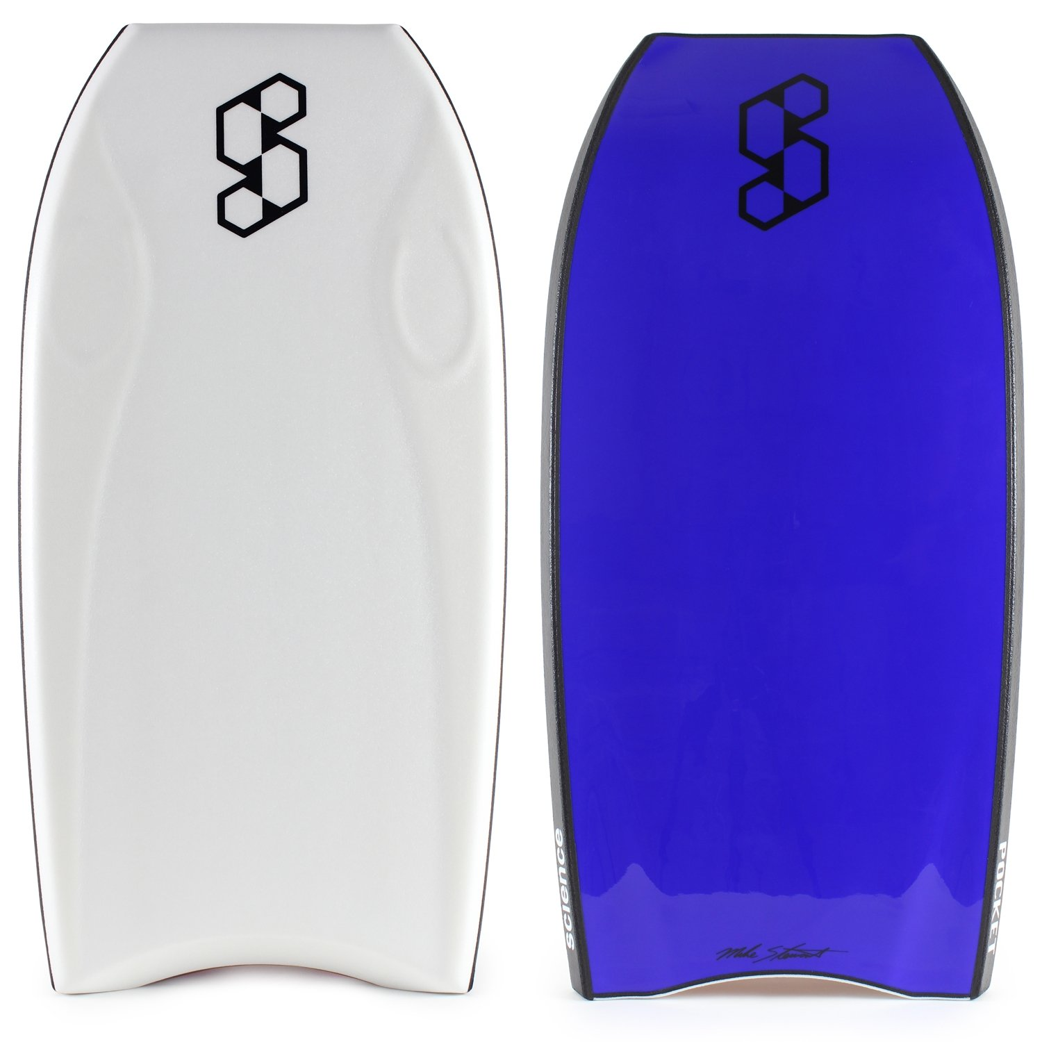 Mike Stewart Pocket Tech 41.5 Crescent Tail 2017 Bodyboard - White deck, Black rails, E.Blue bottom