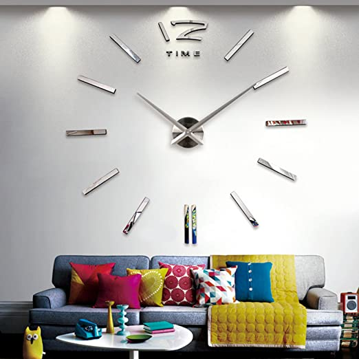 Amazon.com: Large Size Luxury Modern 3d Frameless Large Wall Clock Style Watches Hours DIY Room Home Decoration Mirror Surface (Gold): Home & Kitchen