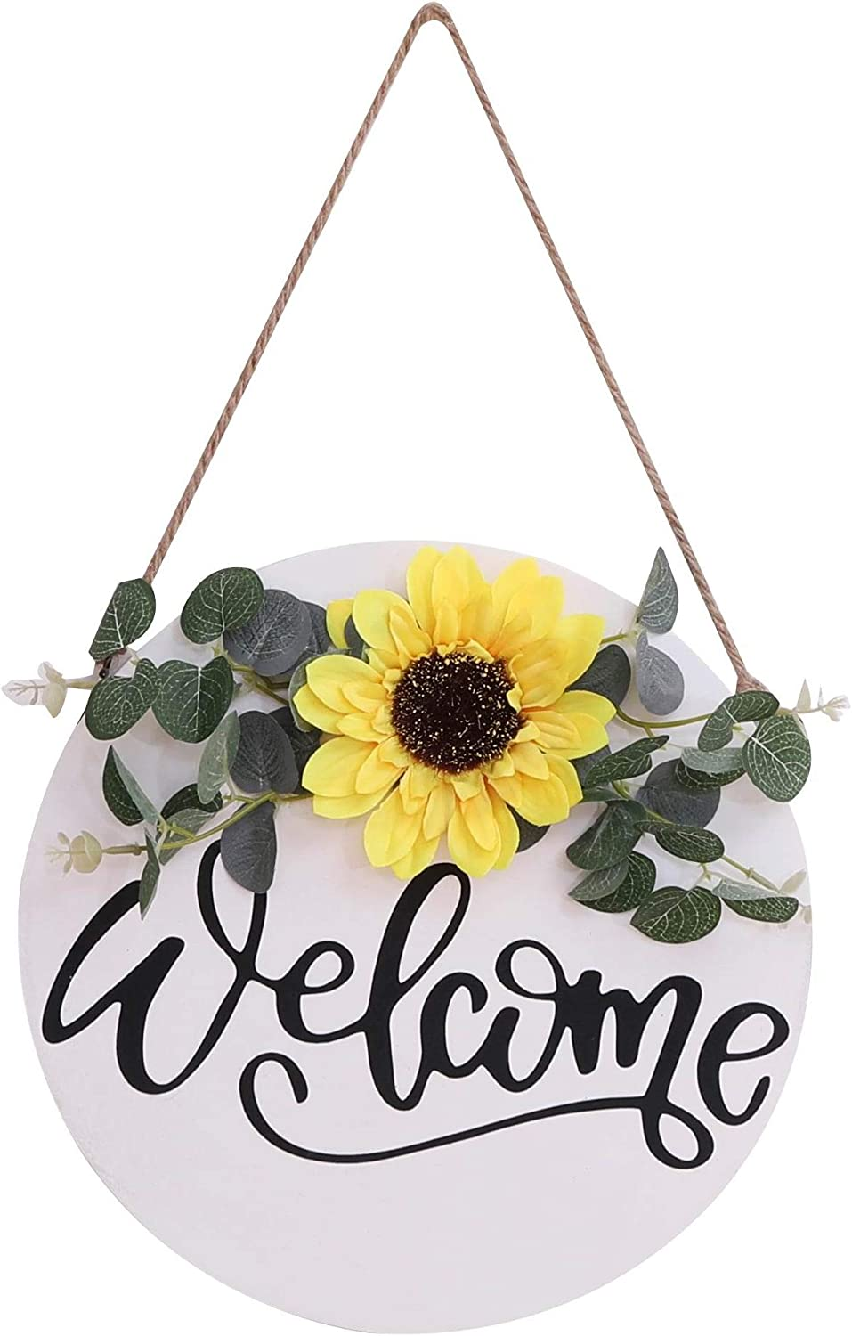 Welcome Sign Solid Wood For Front Porch Wall Decor With String Rustic Farmhouse Hanging Wooden Sign For Outdoor, Entryway, Front Door Decor