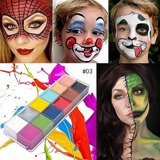 Volwco Juego de Pintura para el Cuerpo de la Cara, Kit de Pintura Facial de Halloween