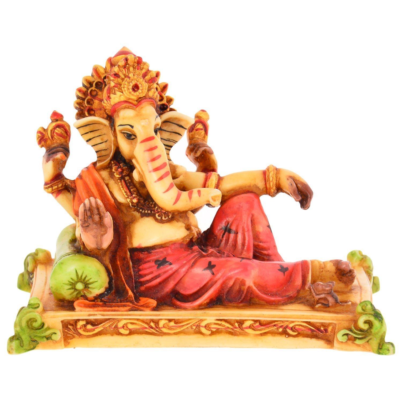 Handicraft homedecor synthetic ganesh ji showpiece statue (10 Cms x 4.5 Cms x 8 Cms, Multi-Color)