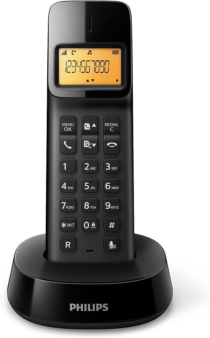 Philips D1401B - Teléfono inalámbrico con identificación de Llamadas entrantes, configuración fácil, Sonido Puro y Claro, Negro: Amazon.es: Electrónica