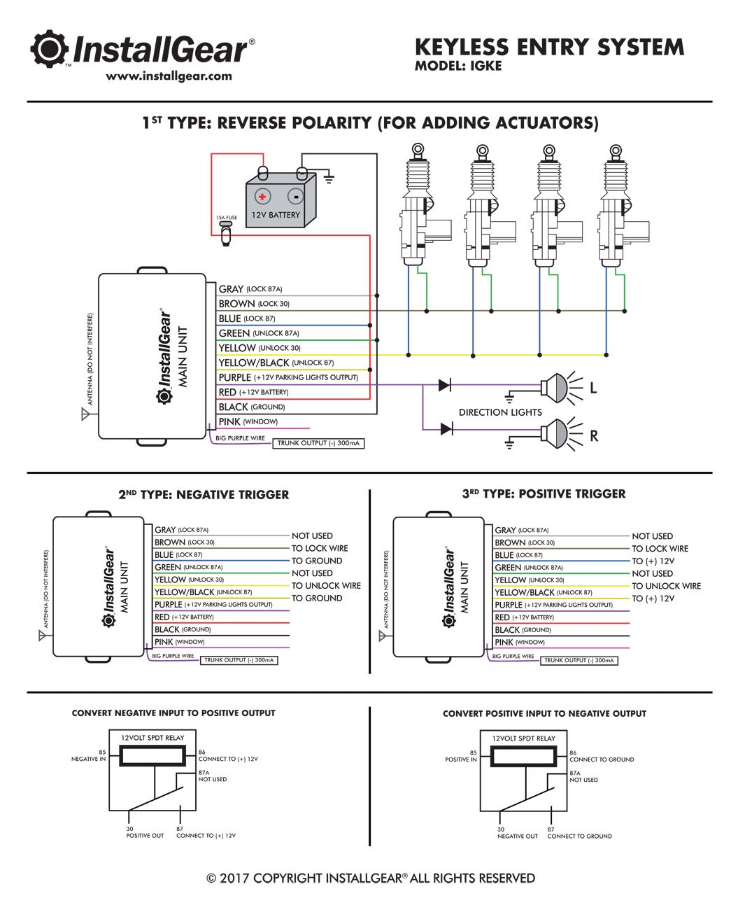 Installgear Car Alarm Security Keyless Entry System 5 Post Relay Wiring Diagram Negative Electronics