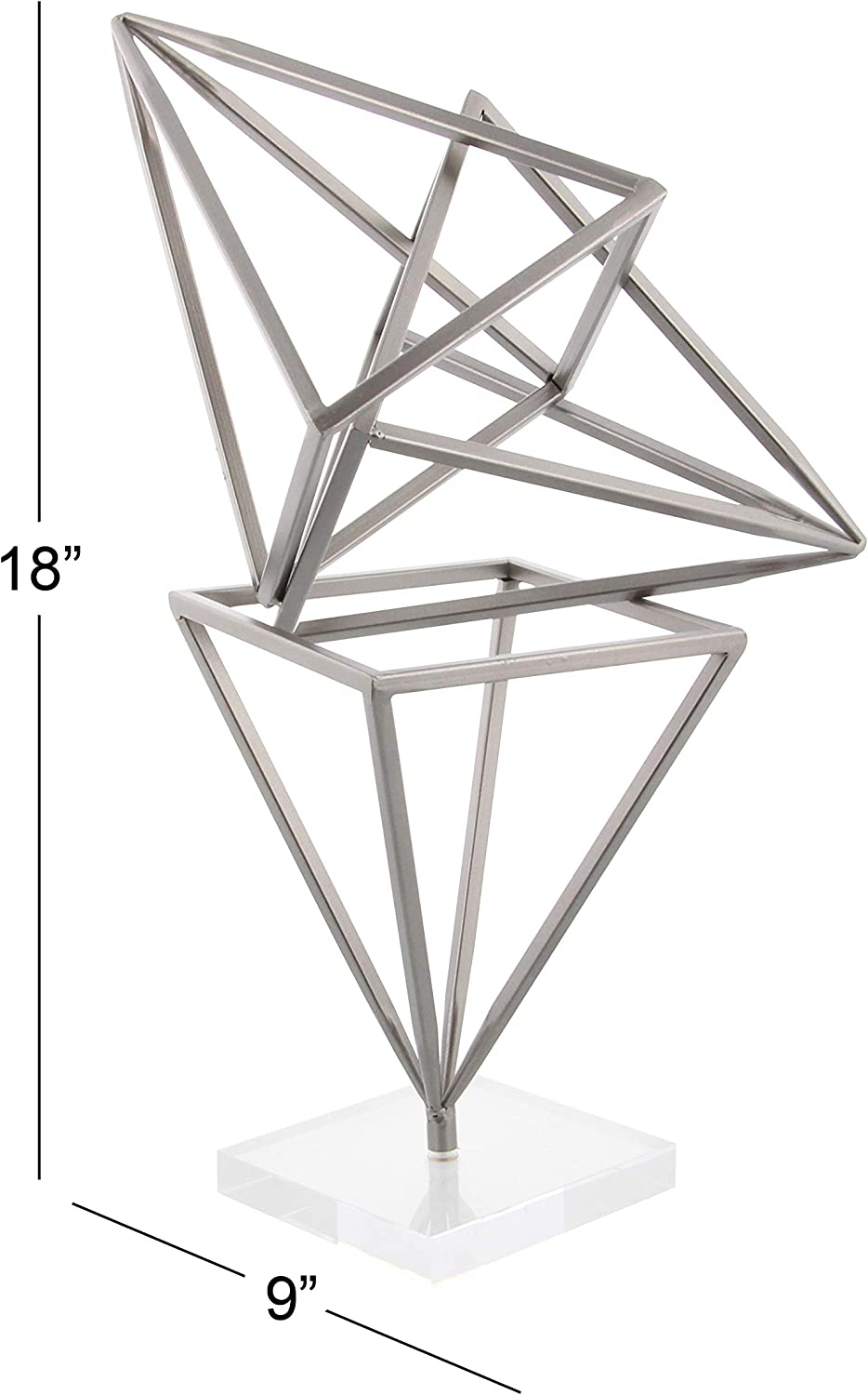 Gray//Clear Deco 79 56942 Iron and Acrylic Prism Sculpture 18 x 9