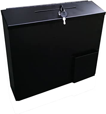 FixtureDisplays Metal Collection Box Suggestion Box Donation Charity Box Fundraising Box 10918-85-WT