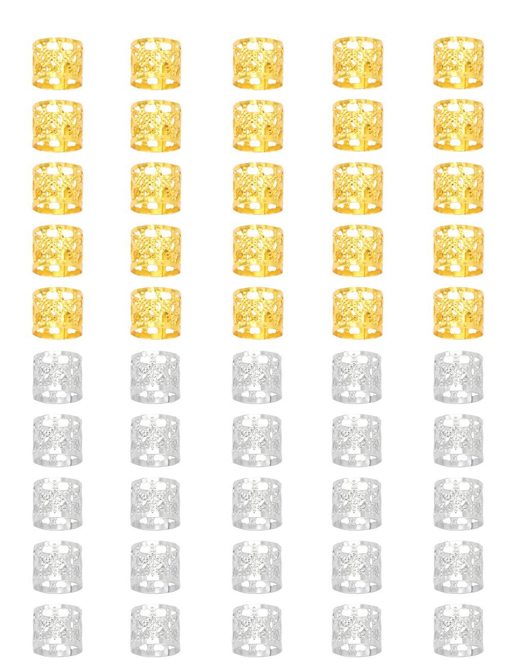 Golden Rule, perline decorative in metallo da 8 mm per trecce, gioielli per capelli, 120pezzi