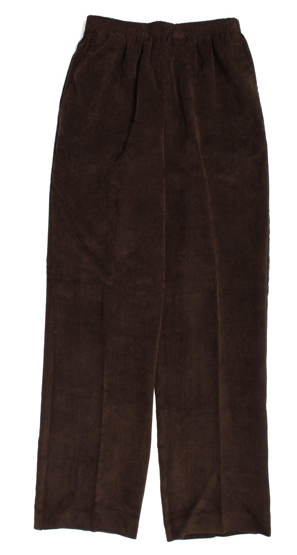 Alfred Dunner Classics Elastic Waist Corduroy Pants Brown 10P S