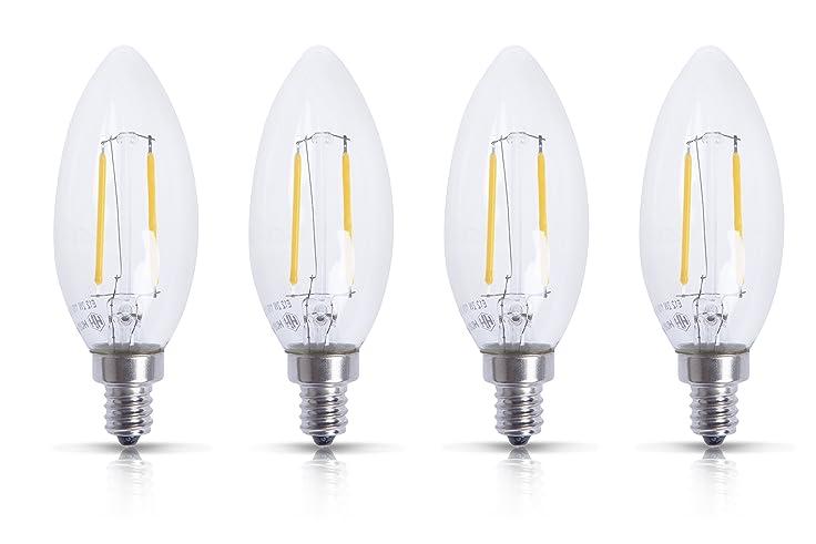 Huaha 2w Led Filament Candle Light Candelabra Bulb Non Dimmable E12 Base 2700k 2 Watts