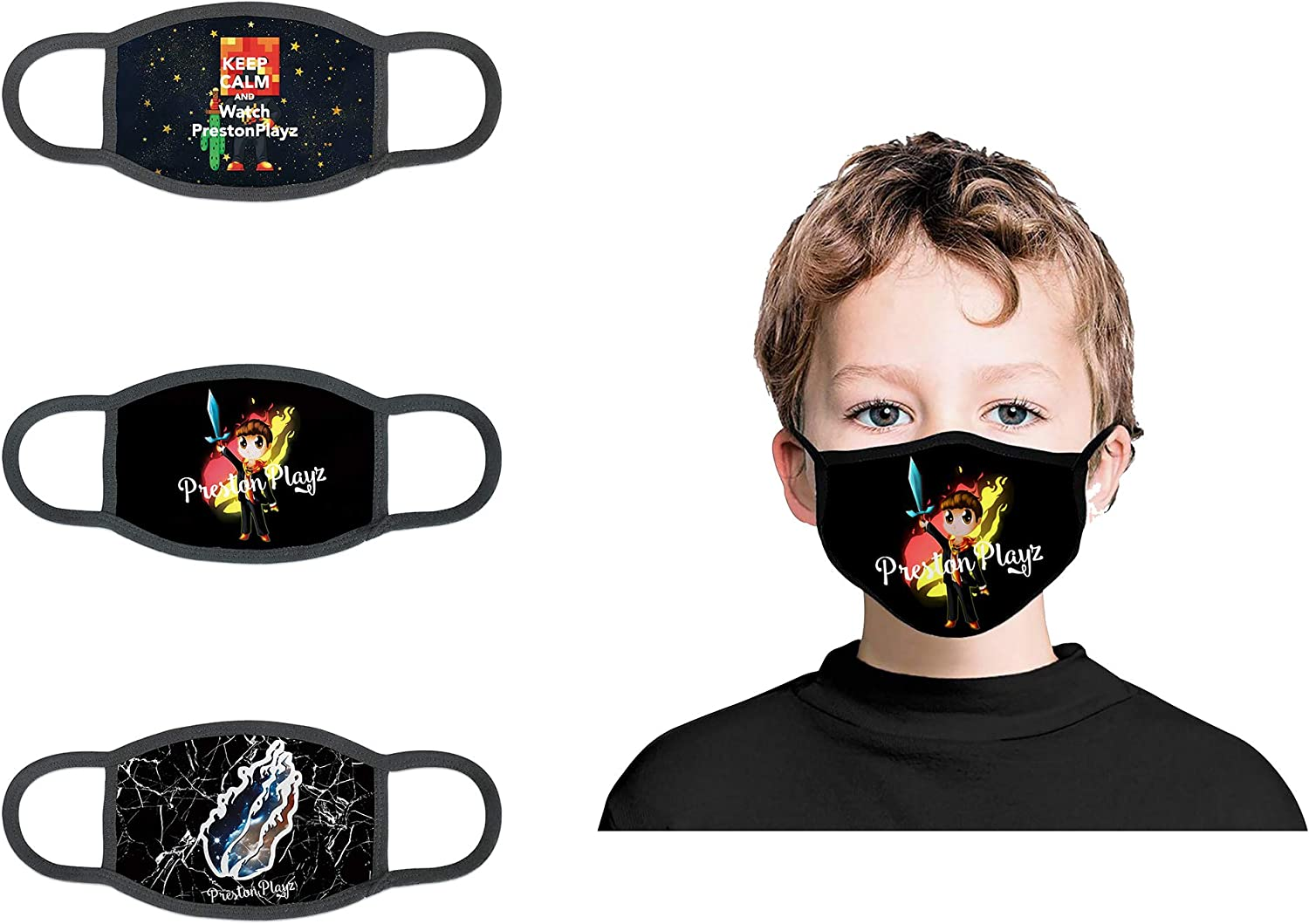 AIYIZHU Pre_Ston Playz Mask Fire Flame 3 Pcs Mouth Cover with Filter Pocket Reusable Washable Face Balaclava for Boys Girls Kids (Preston-Plays5)