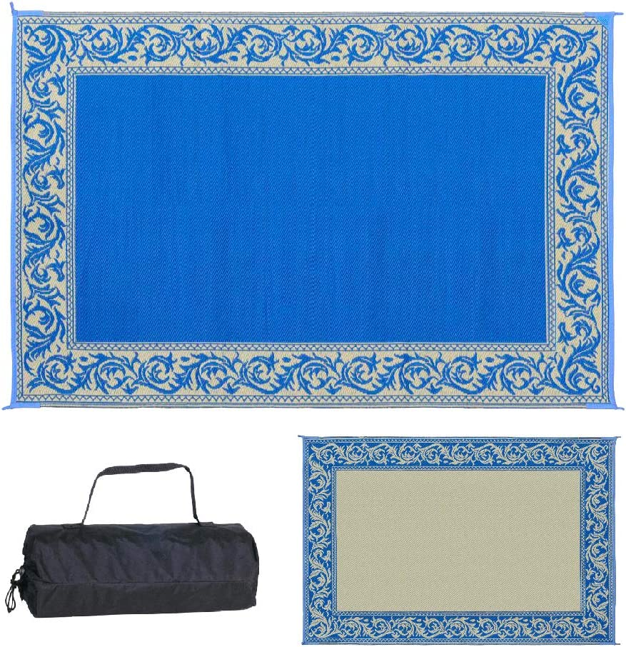 Stylish Camping Ming's Mark RD3 Reversible Classical Patio Mat - 6' x 9', Blue/Beige