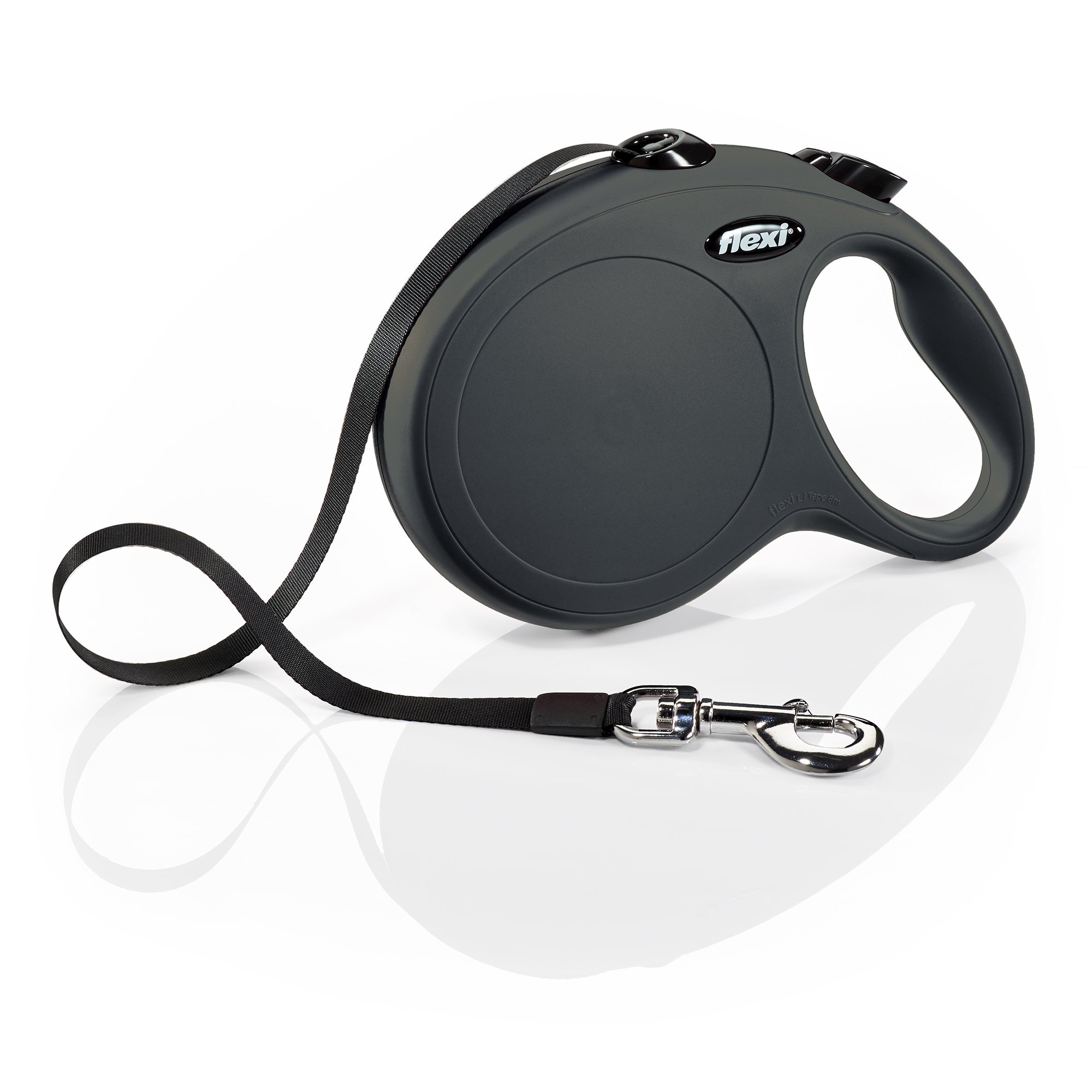 Flexi New Classic Retractable Dog Leash, Tape, Black, Large/26', For Dogs up to 110 lbs by Flexi