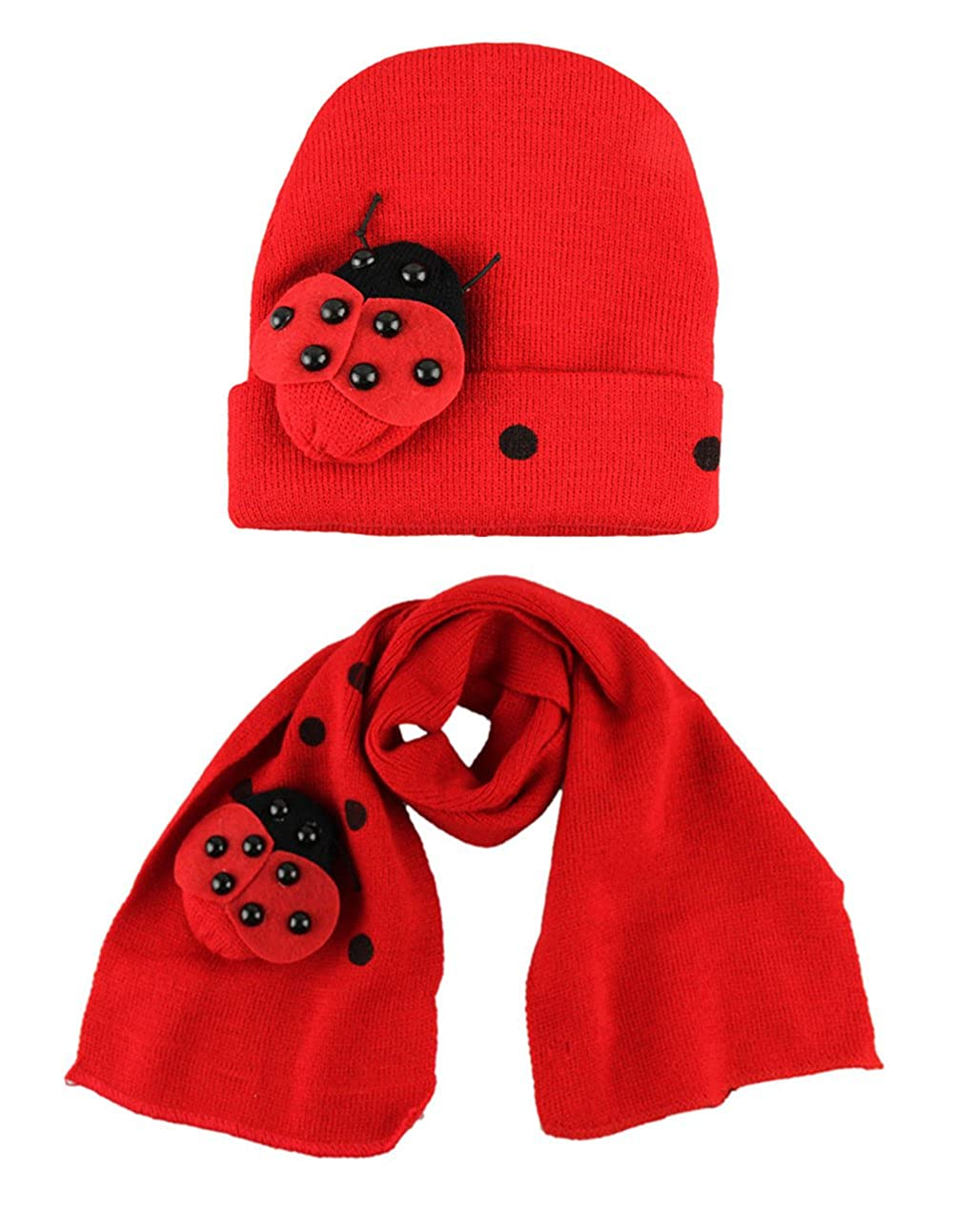 StylesILove Toddler Baby 3D Ladybug Dots Cotton Knitted Hat and Scarf for Age 1-4