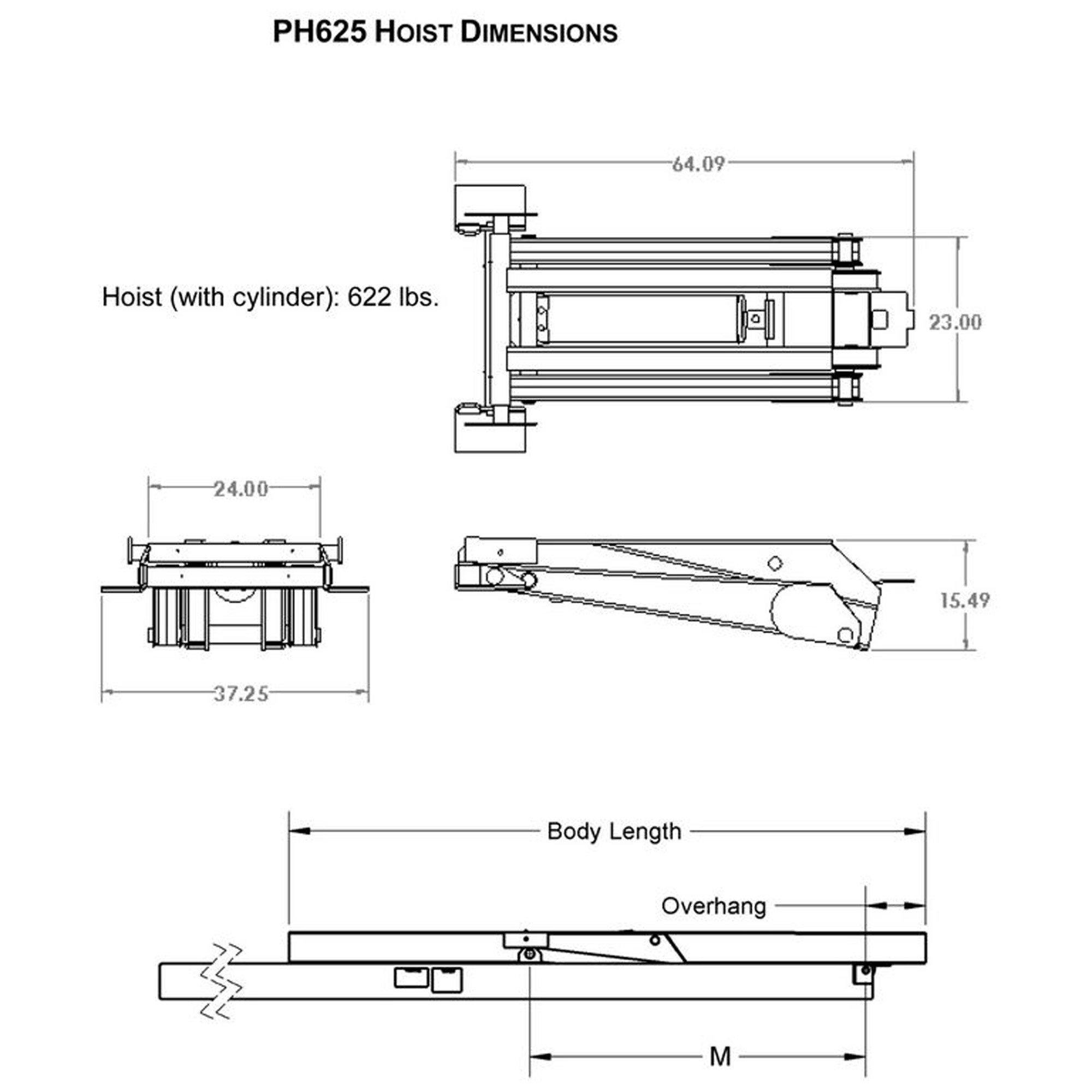 12 Ton (24,000 lb) Dump Trailer Hydraulic Scissor Hoist Kit – PH625 (16' to 20' Dump Body Trailers)