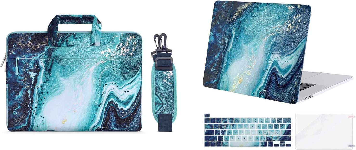 MOSISO Creative Wave Marble Plastic Hard Shell Case & Shoulder Bag Compatible with 2019 Release MacBook Pro 16 inch A2141 with Touch Bar & Touch ID, Blue